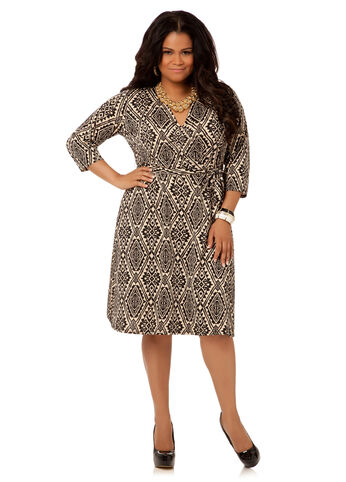 Tribal Print Wrap Dress