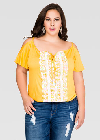 Crochet Cold Shoulder Slub Tee