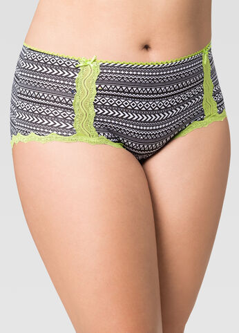 Printed Lace Trim Micro Hipster Panty