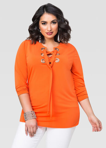 Solid Large Grommet Lace-Up Top