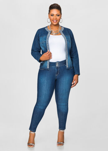 Three Button Straight Leg Jeans