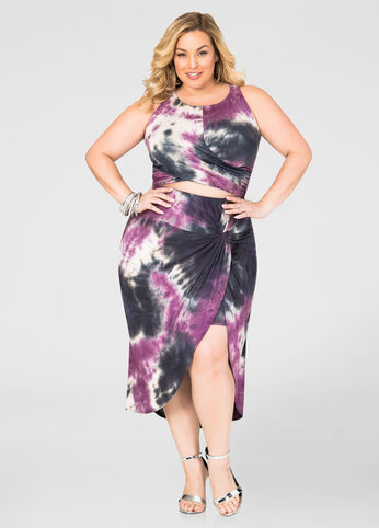 tie dye plus size skirt set