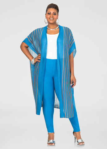 Open Front Long Striped Cardigan