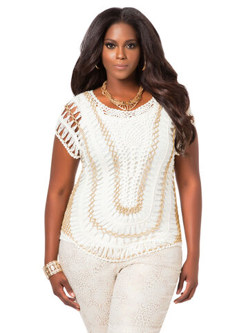 Metallic Trim Crochet Top