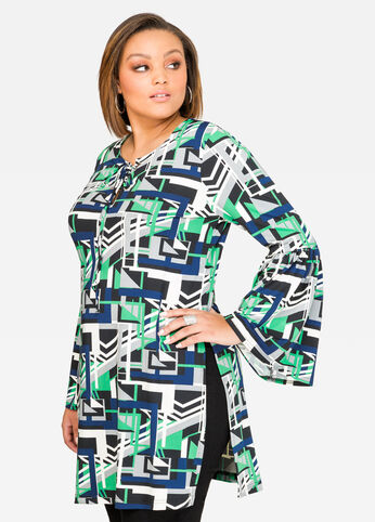Printed Lace-Up Bell Sleeve Tunic