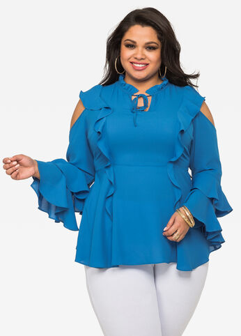 Ruffle Peplum Cold Shoulder Blouse