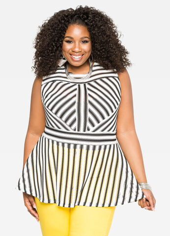 Textured Stripe Peplum Top