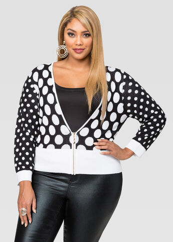 Polka Dot Cropped Zip Front Cardigan