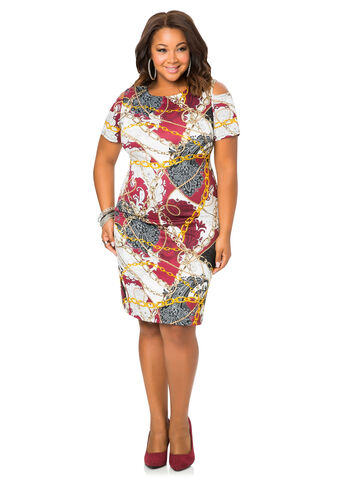 Cold Shoulder Status Print Dress