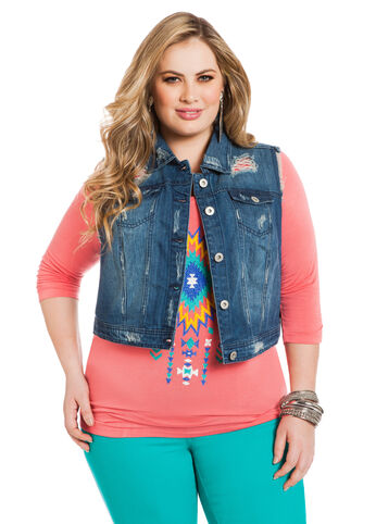 Destructed Denim Vest