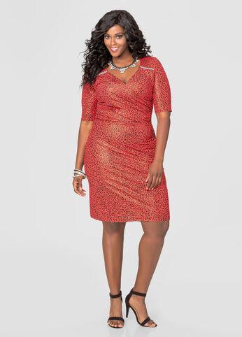 Metallic Leopard Print Dress