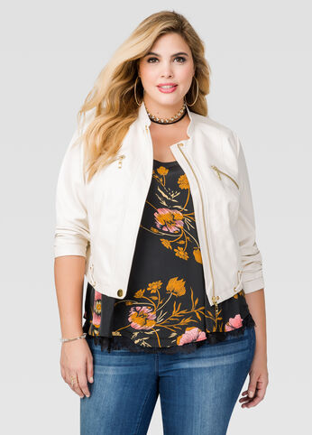 Grommet Lace-Up Moto Jacket