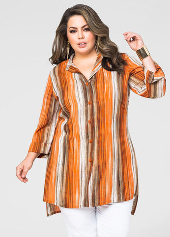 Striped Button Front Duster Blouse