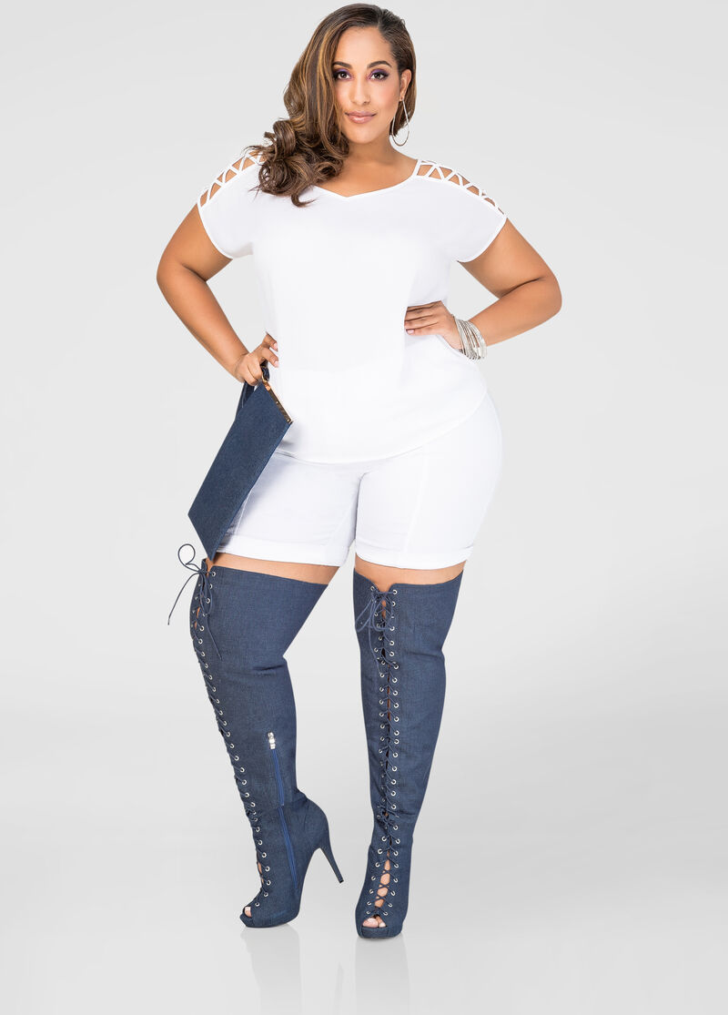 Denim Thigh High Boot - Wide Calf Boots - Ashley Stewart ...
