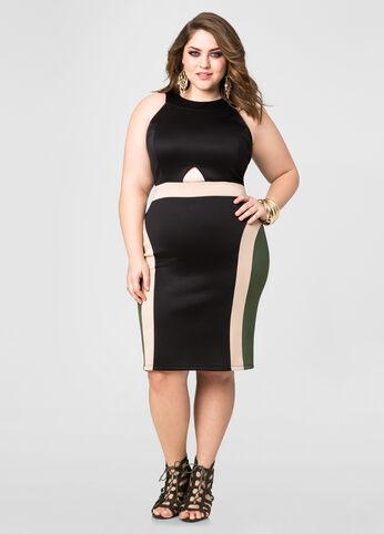 Front Cut-Out Colorblock Dress