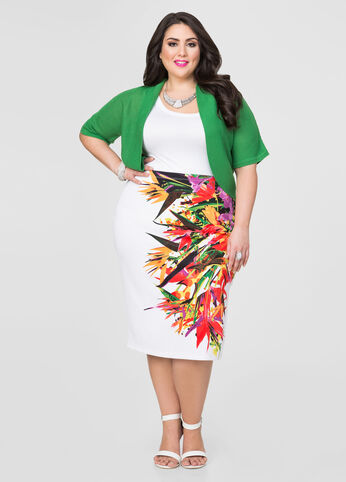 Tropical Side Slit Pencil Skirt