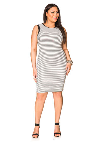 Ribbed Stripe Sheath Dress