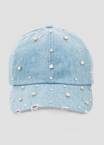 Diamond Embellished Denim Cap