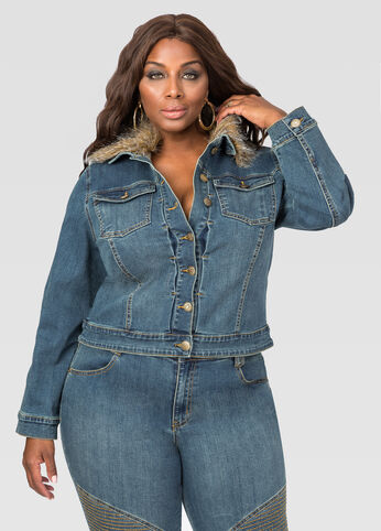 Faux Fur Collar Jean Jacket