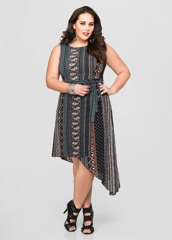 Belted Asymmetric Shirt Dress