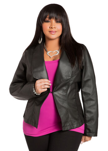 Faux Leather & Knit Blazer