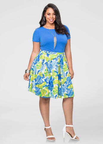 Tropical Watercolor Box Pleat Skirt
