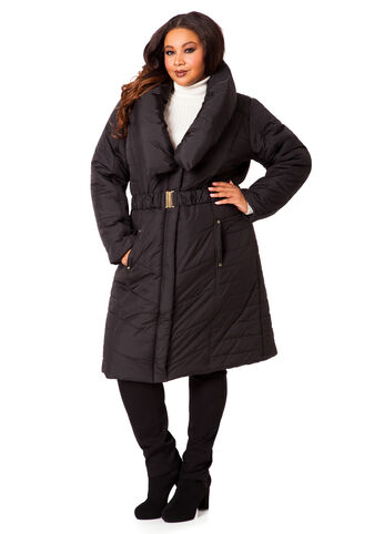 Shawl Collar Long Puffer Coat