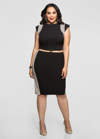 Stripe Trim Slim Skirt