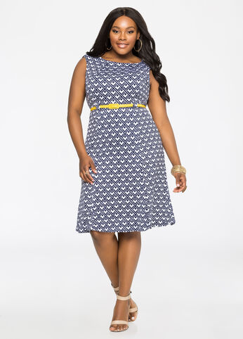 Ponte Contrast Belt Geo Dress