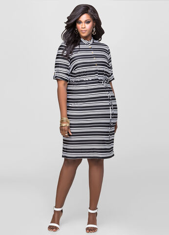 Mandarin Collar Striped Dress