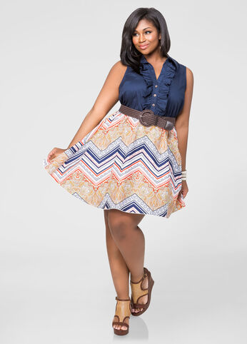 Tribal Ruffle Front Dress