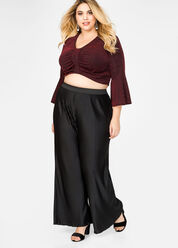 Plissé Pleat Wide Leg Pants