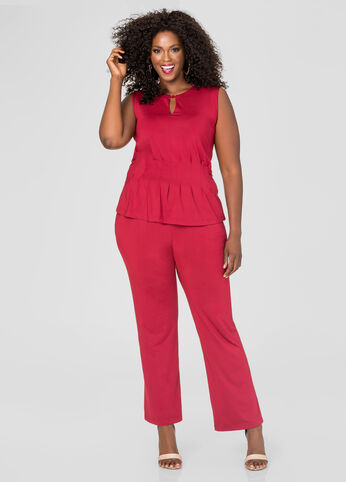 Wide Leg Peplum Jumpsuit