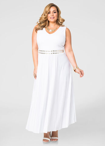 Pleated Stud Waist Maxi Dress