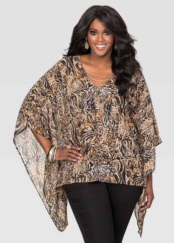 Chain Animal Print Poncho Top