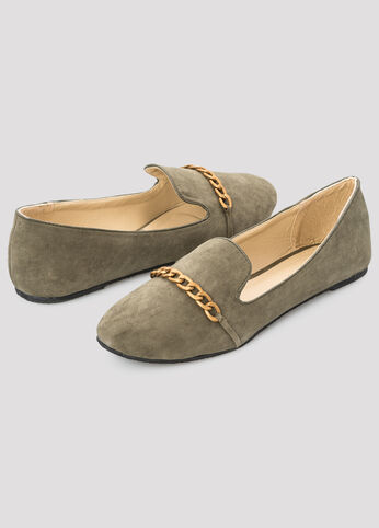 Chain Top Suede Loafer - Wide Width