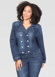 Embellished Military Jean Jacket