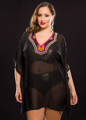 Beaded Neck Sheer Poncho Cover-Up