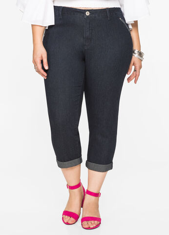 Cuffed Dark Wash Capri Jean