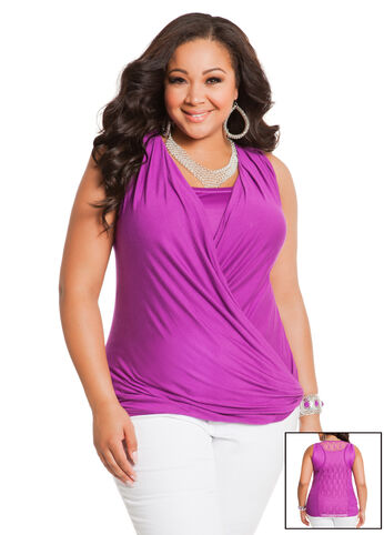 Sleeveless Laceback Surplice Top