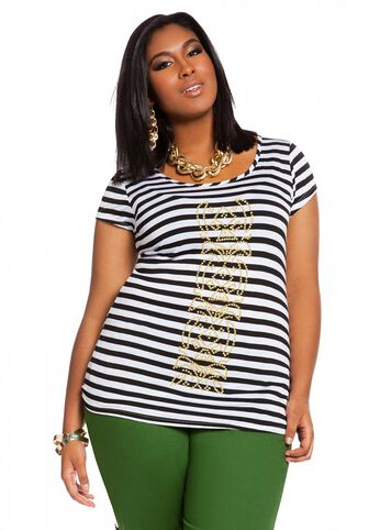 Striped Tee with Caviar Beading