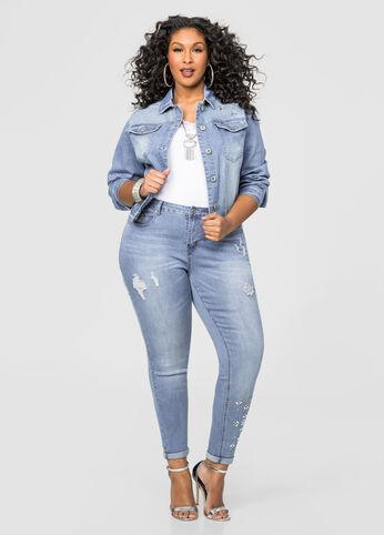 Destructed Jewel Leg Skinny Jean
