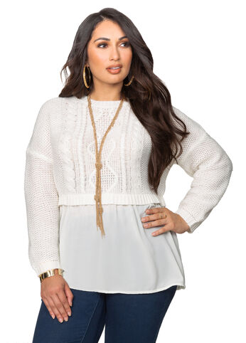 Two-fer Layered Cable Sweater
