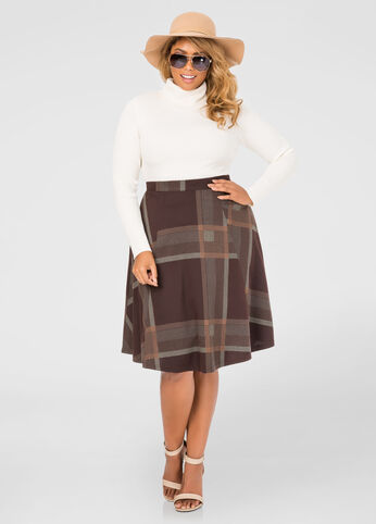 Plaid Flare Skirt
