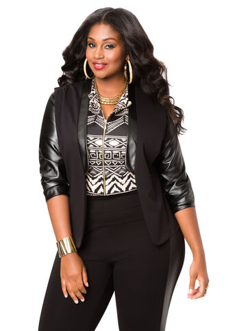 Contrast Faux Leather Ponte Blazer
