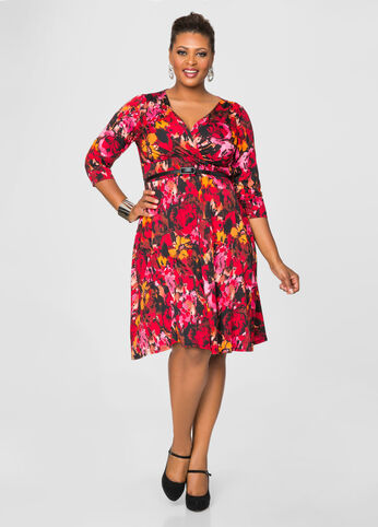 Splatter Print Surplice A-Line Dress