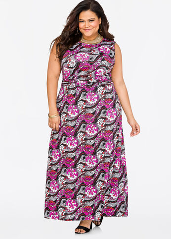 Dot Print Ruched Maxi Dress