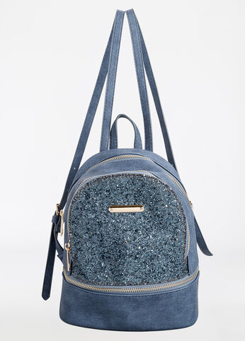 Glitter Sequin Colorblock Mini Backpack