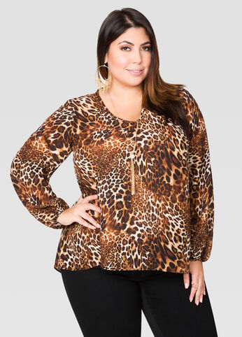 Animal Print Tulip Back Blouse