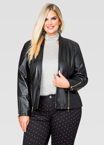 Faux Leather Peplum Blazer Jacket